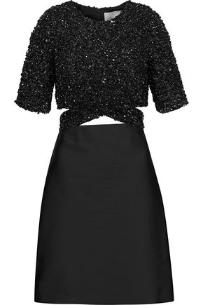 3.1 PHILLIP LIM Sequin-paneled cutout duchesse-satin mini dress