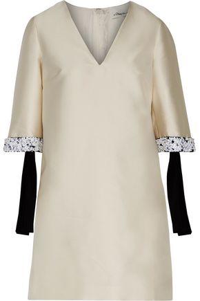 3.1 PHILLIP LIM Embellished silk-trimmed duchesse-satin mini dress