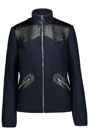 MAJE Faux textured leather-paneled wool-blend jacket