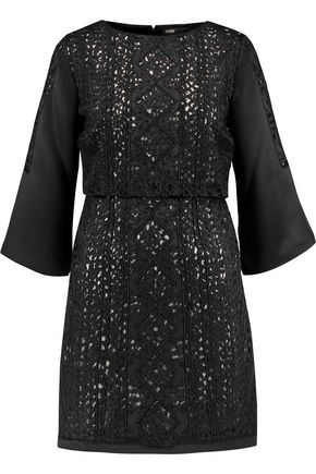 MAJE Embellished embroidered satin mini dress