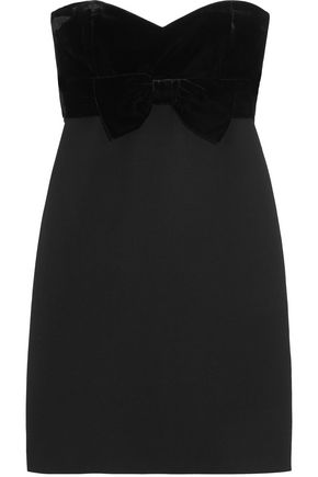 MAJE Strapless velvet and crepe mini dress