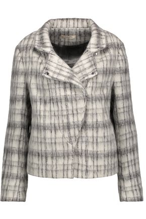J BRAND Esther checked brushed wool-blend jacket