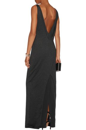 BRUNELLO CUCINELLI Silk chiffon-trimmed metallic cashmere-blend maxi dress