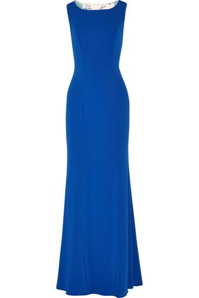 MARCHESA NOTTE Embroidered tulle-paneled crepe gown