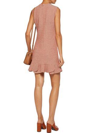 MAJE Reja pleated cotton-blend bouclé-tweed mini dress