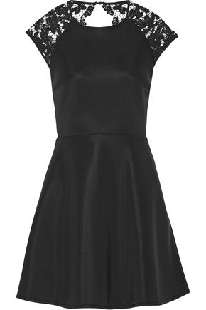 MAJE Rodney open-back sequin-embellished lace-paneled neoprene mini dress