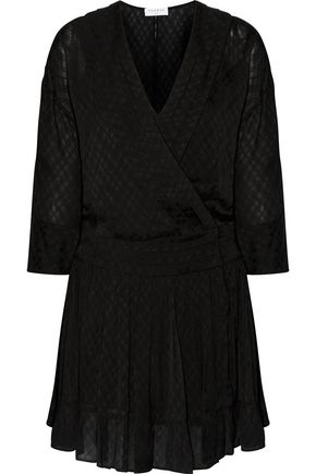 SANDRO Pleated crepe-jacquard wrap-effect mini dress