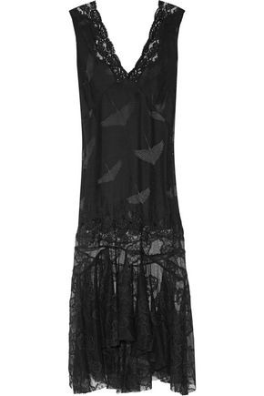 SANDRO Lace-panelled jacquard midi dress