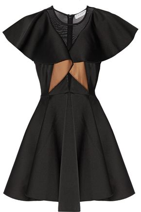 SANDRO Dragon Fly tulle-paneled ruffled satin dress