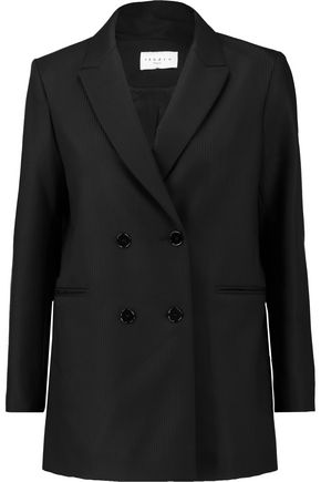 SANDRO Striped wool-crepe blazer