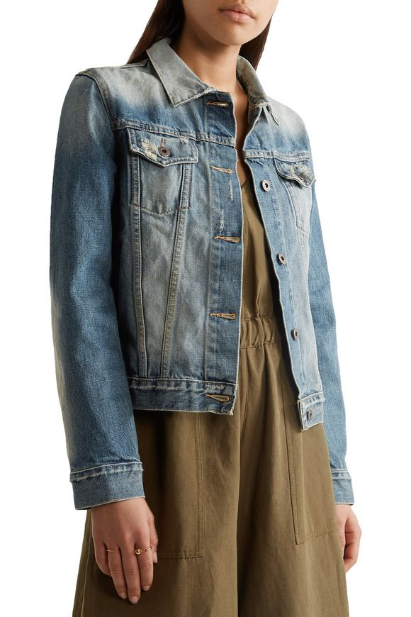 Keyes cropped distressed denim jacket | SIMON MILLER | Sale up to 70% off |  THE OUTNET