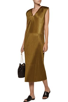SIMON MILLER Ceil plissé-satin midi dress