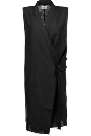 SIMON MILLER Nara tie-front linen and silk-blend vest