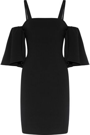CINQ À SEPT Monroe cold-shoulder mesh-trimmed crepe mini dress