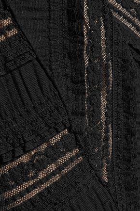 CINQ À SEPT Tulle-trimmed ruffled cotton-blend dress