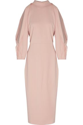 CUSHNIE ET OCHS Gina draped cutout stretch-crepe midi dress