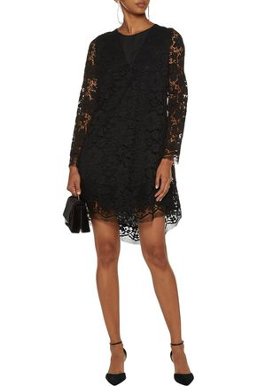 ADAM LIPPES Asymmetric cotton-blend corded lace mini dress