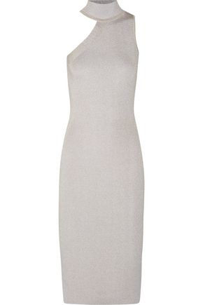CUSHNIE ET OCHS Asymmetric lurex pencil dress