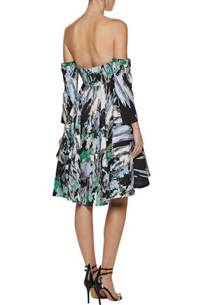 MILLY Off-the-shoulder pleated printed cotton-blend mini dress