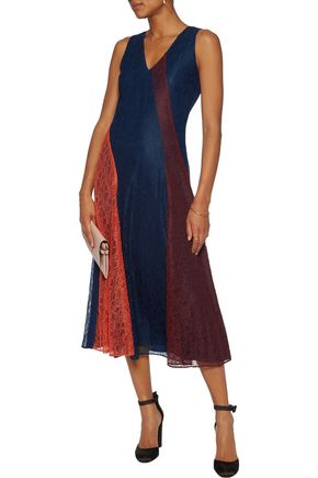 TORY BURCH Iliana paneled corded lace midi dress