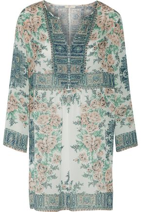 JOIE Demko C gathered printed silk-chiffon mini dress