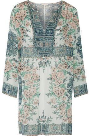 JOIE Demko C gathered printed silk-chiffon mini dress