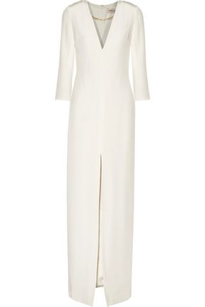 CUSHNIE ET OCHS Chain-embellished silk-crepe gown