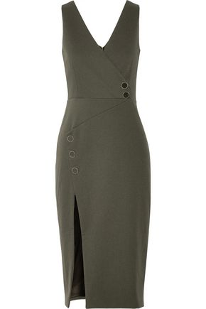 CUSHNIE ET OCHS Button-detailed faille midi skirt