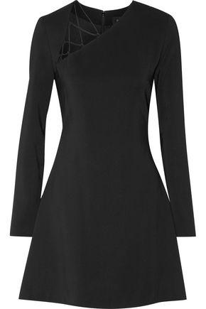 CUSHNIE ET OCHS Lattice-trimmed flared stretch-cady mini dress
