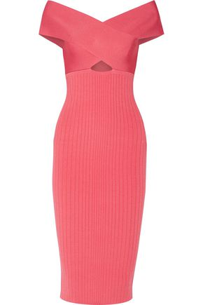 CUSHNIE ET OCHS Off-the-shoulder cutout stretch-knit midi dress