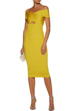 CUSHNIE ET OCHS Off-the-shoulder cutout stretch-knit midi dress