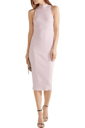 CUSHNIE ET OCHS Lace-up stretch-knit midi turtleneck dress