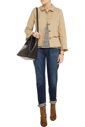TORY BURCH Delia pleated cotton-poplin jacket