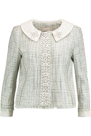 TORY BURCH Regina embellished cotton-blend tweed jacket