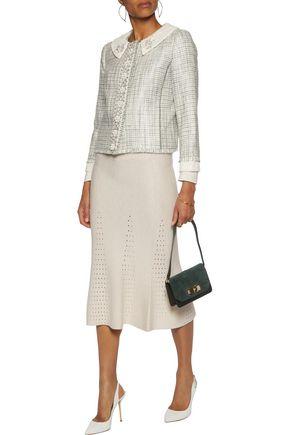 TORY BURCH Regina embellished cotton-blend tweed jacket