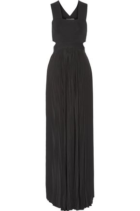 A.L.C. Siddall cutout stretch-knit and plissé-satin gown