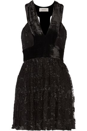 A.L.C. Wyatt velvet-paneled pleated embroidered tulle mini dress