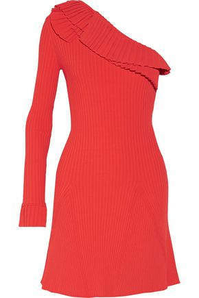 EMILIO PUCCI One-shoulder ruffled ribbed-knit mini dress