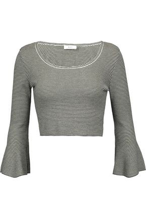 A.L.C. West cropped striped merino wool-blend top
