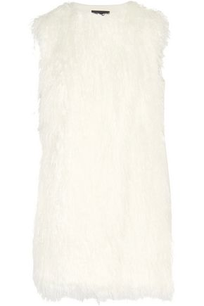 THEORY Faux shearling and crepe vest