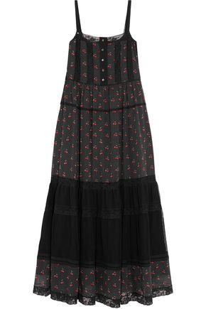 MARC BY MARC JACOBS Lace-trimmed printed cotton-jersey and tulle maxi dress