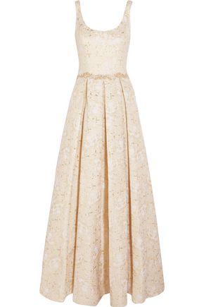 MARCHESA NOTTE Metallic jaquard gown
