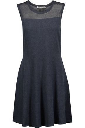 AUTUMN CASHMERE Flared paneled cotton mini dress