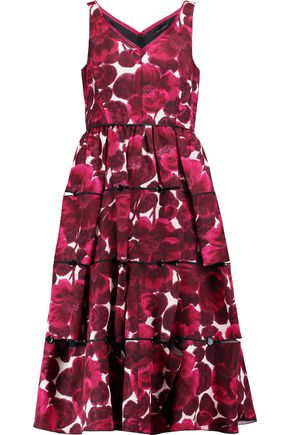 MARC JACOBS Frayed printed silk midi dress