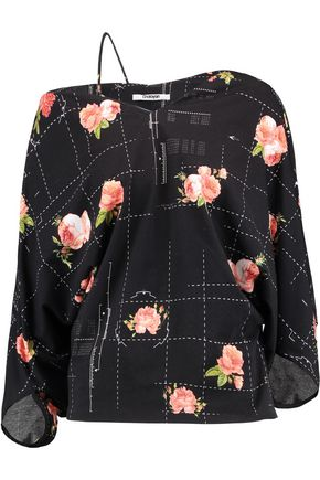 CHALAYAN Floral-print stretch cotton-felt top