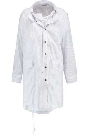 CHALAYAN Layered striped cotton-blend poplin shirt dress