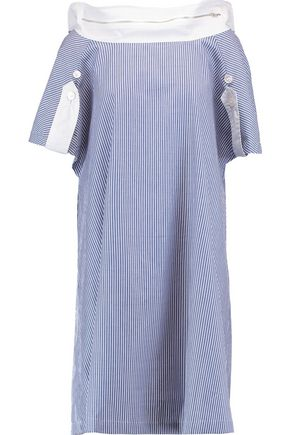 CHALAYAN Striped cotton-poplin dress