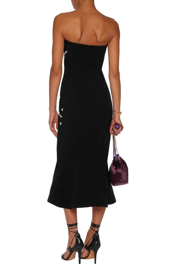 38ef4996935f Luna strapless embroidered faille midi dress | CINQ À SEPT | Sale up ...