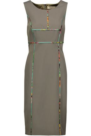 LELA ROSE Printed silk-trimmed twill dress