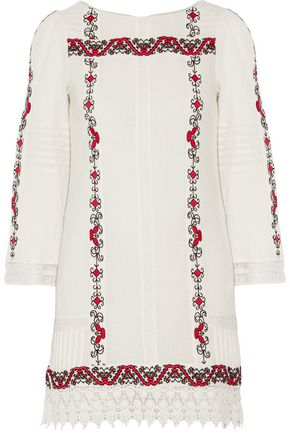 ALICE+OLIVIA Riska crochet-trimmed embroidered cotton-gauze mini dress